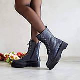 Женские зимние высокие кожаные ботинки на шнуровке WooDstock (синий лак), фото 3