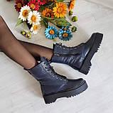 Женские зимние высокие кожаные ботинки на шнуровке WooDstock (синий лак), фото 5