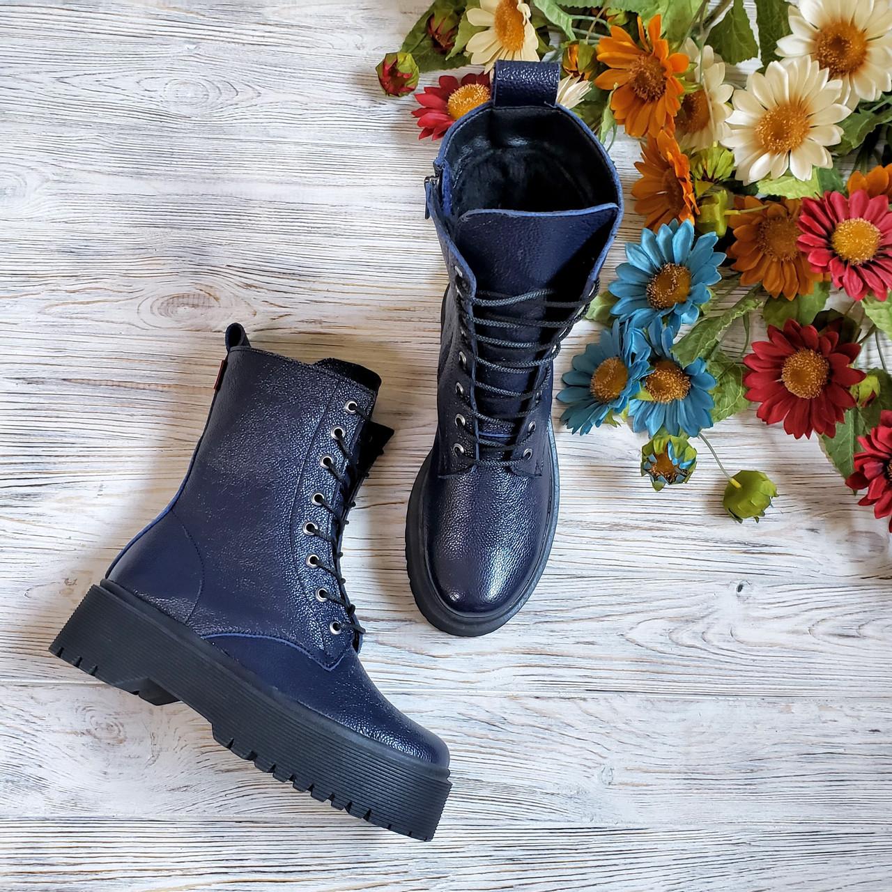 Женские зимние высокие кожаные ботинки на шнуровке WooDstock (синий лак)