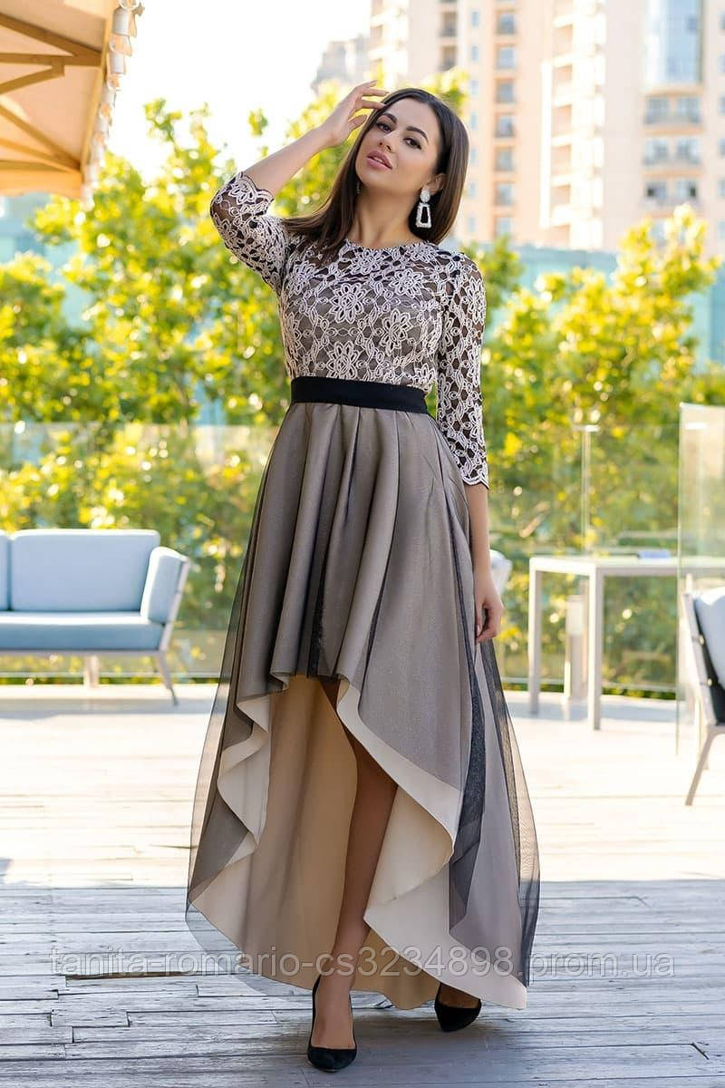 Коктейльное платье 9170e Бежевый S M L