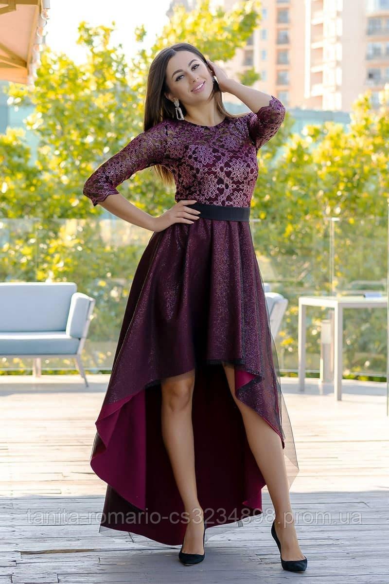 Коктейльное платье 9170e Бордо S M L