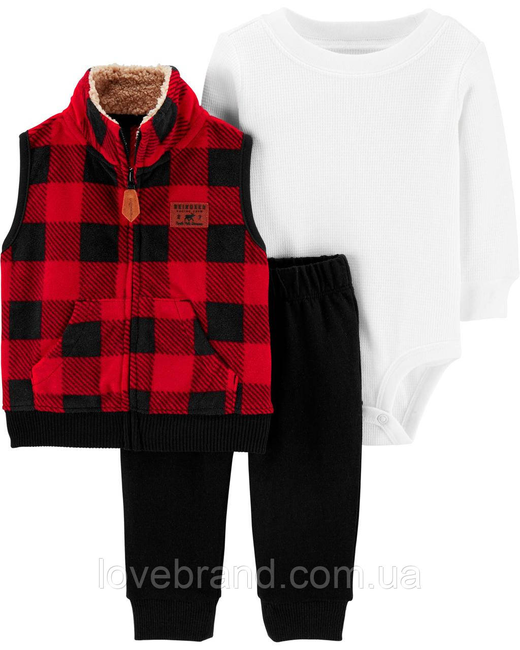"""Набор флисовая жилетка + боди + штаны Carter's для мальчика """"Красная клетка"""" костюм картерс для малыша"""