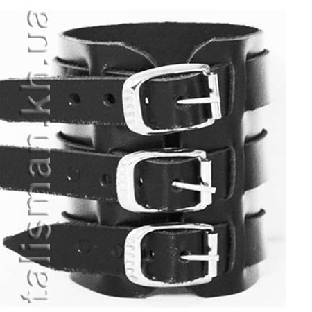 Браслет кожаный BKB-193 три ремешка с кольцами, фото 2