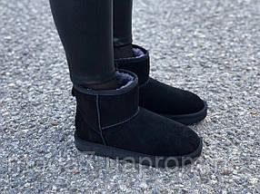 Замшевые женские угги UGG IT TS черные низкие нат.мех, фото 3
