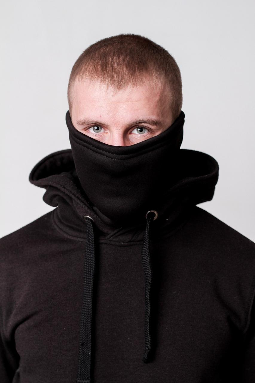 Зимняя бафф маска черная (на флисе)