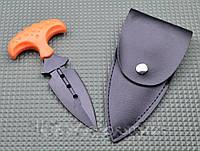 Ніж тичок пуш даггер + чохол рукоять помаранчевий рифлений пластик, тичкова ніж на подарунок туристу, мисливцю, фото 1