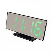 Электронные настольные зеркальные LED часы UKC DS-3618L зеленная подсветка