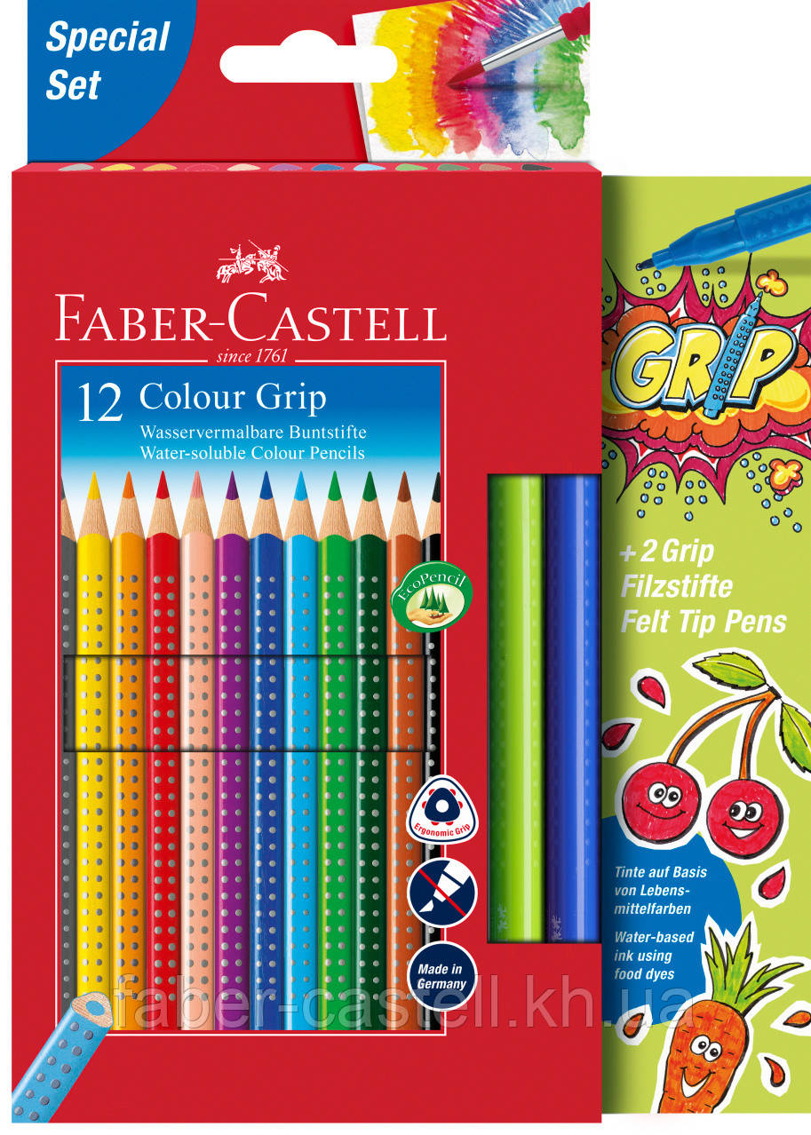 Акварельні кольорові олівці Faber-Castell Grip 12 кольорів + 2 фломастера, 201640