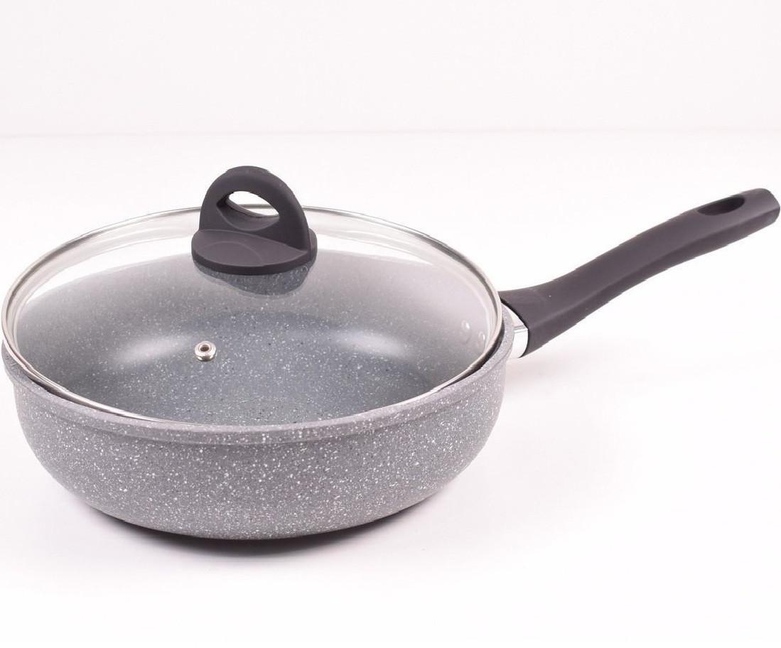 Сковородка Benson BN-496 28 см WOK с крышкой с гранитным покрытием