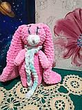 Зайчик м'яка іграшка в'язана, розмір 26 см, антистрес, холлофайбер, фото 7