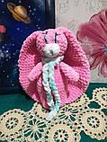 Зайчик м'яка іграшка в'язана, розмір 26 см, антистрес, холлофайбер, фото 6