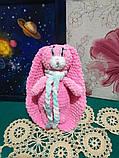 Зайчик м'яка іграшка в'язана, розмір 26 см, антистрес, холлофайбер, фото 8