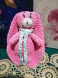 Зайчик м'яка іграшка в'язана, розмір 26 см, антистрес, холлофайбер, фото 9