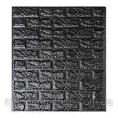 Самоклеющиеся обои Декоративная 3D панель ПВХ 1 шт,  черный кирпич 7 мм