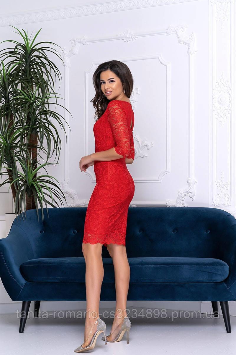 Коктейльное платье 9204e Красный S M L