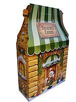 Новогодняя коробка на конфеты Зеленый новогодний домик
