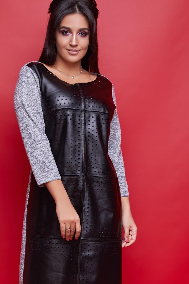 Женское платье из эко-кожи большого размера.Размеры:52-56