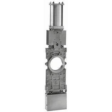 Шиберно-ножевая задвижка со сквозным ножом, корпус сталь, пневмопривод DN125 PN 10 Серия L CMO