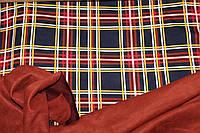 Ткань французский трикотаж , клетка горчиця+теракот , плотный, стрейч средний № 381, фото 1