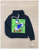 Свитшот нарядный теплый с начесом и модным воротником хомут для девочки код 0088/4 (р.104-134)