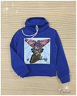 Свитшот нарядный теплый с начесом и модным воротником хомут для девочки код 0088/5 (р.104-134)