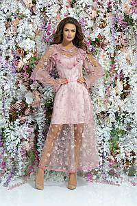 """Вечернее гипюровое платье """"Karon"""" с длинным рукавом  (3 цвета)"""