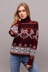 Стильный женский жаккардовый свитер с горлом бордовый