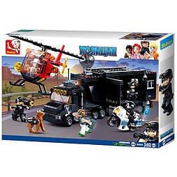 Конструктор SWAT SLUBAN M38-B0659 полиция, трейлер, база, вертолет, фигурки, 540 деталей
