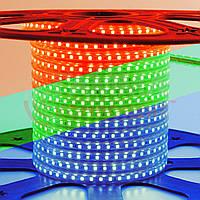 Светодиодная герметичная лента 220В RGB smd 5050-60 лед/м 8,8 Вт/м. Бухта 50 метров.