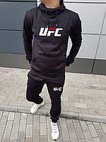 Штаны и кенгурушка мужской спортивный костюм на флисе UFC черный (реплика) - S