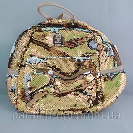 Рюкзак женский из экокожи c пайетками 24x24x11 Золотой