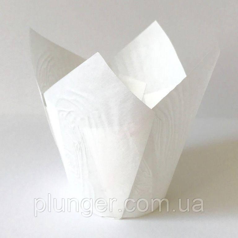 """Форма паперова для кексів """"Тюльпан"""" біла, дно 5 см, 12 шт"""