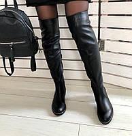 36,37,38,39 высокие зимние кожаные ботфорты чулки сапоги женские на низком ходу черные С56KU03IЕ