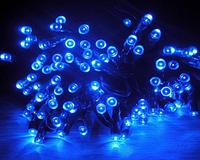 Гирлянда Нить (STRING) синяя 10 метров (черный кабель резина БФ)