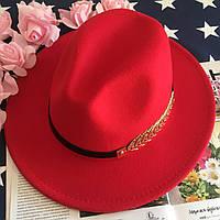 Шляпа Федора унисекс с устойчивыми полями Gold красная, фото 1