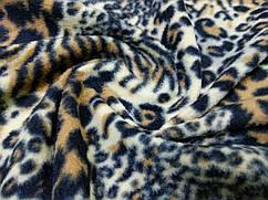 Флис рисунок леопард, коричнево-бежевый