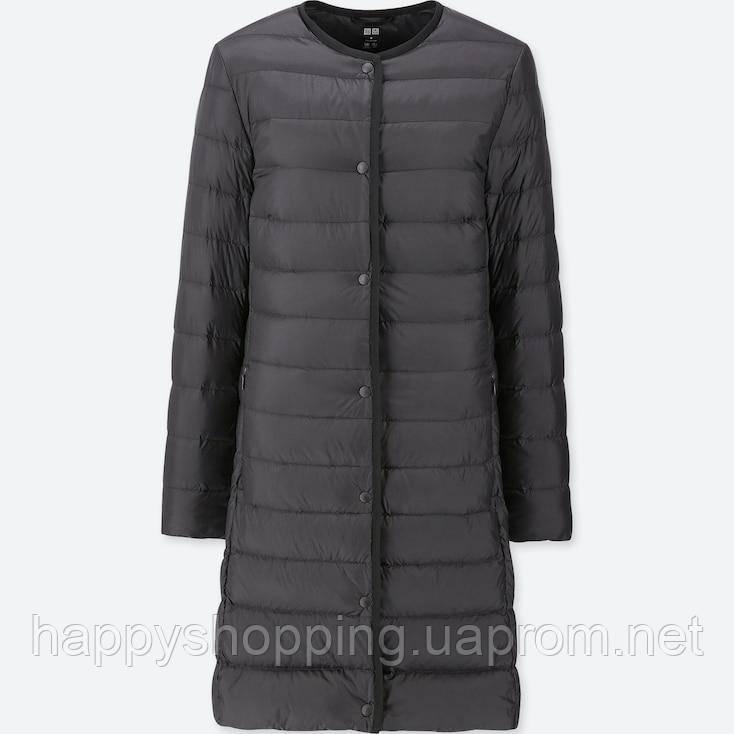 Женское черное  ультралегкое  пальто на пуху Uniqlo