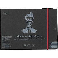 Альбом для рисунка AUTHENTIC (black) А5 (24,5*17,6 см), 165г/м2, 18л, черная бумага, SMILTAINIS