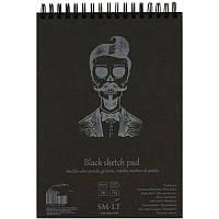 Альбом для рисунка на спирали AUTHENTIC (black) А5 165г/м2 20л черная бумага SMILTAINIS