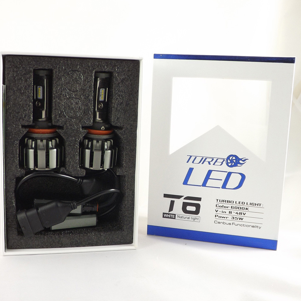 LED лампы Н11 6000К 50W Комплект светодиодных ламп T6- Turbo ( лампы с активным охлаждением)+ПОДАРОК!