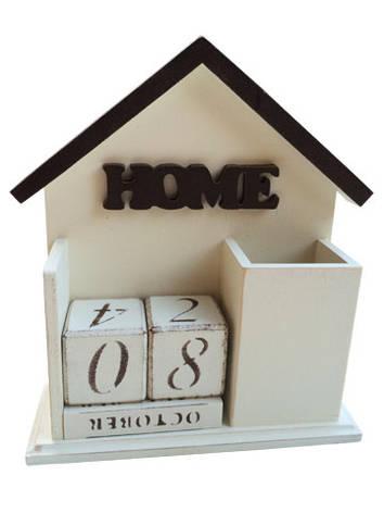"""Вечный календарь """"Home"""", на английском языке, бежевый, фото 2"""