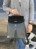 Рюкзак женский черный молодежный городской модный брендовый рюкзачок замша+кожзам