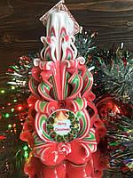 Новорічна різьблена свічка з написом Merry Christmas