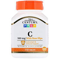 "Витамин С + шиповник, 21st Century ""Vitamin C with Rose Hips"" 500 мг, поддержка иммунитета (110 таблеток)"