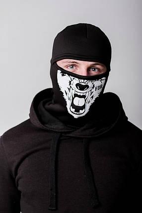 Зимняя балаклава маска с рисунком Волк (на флисе), фото 2