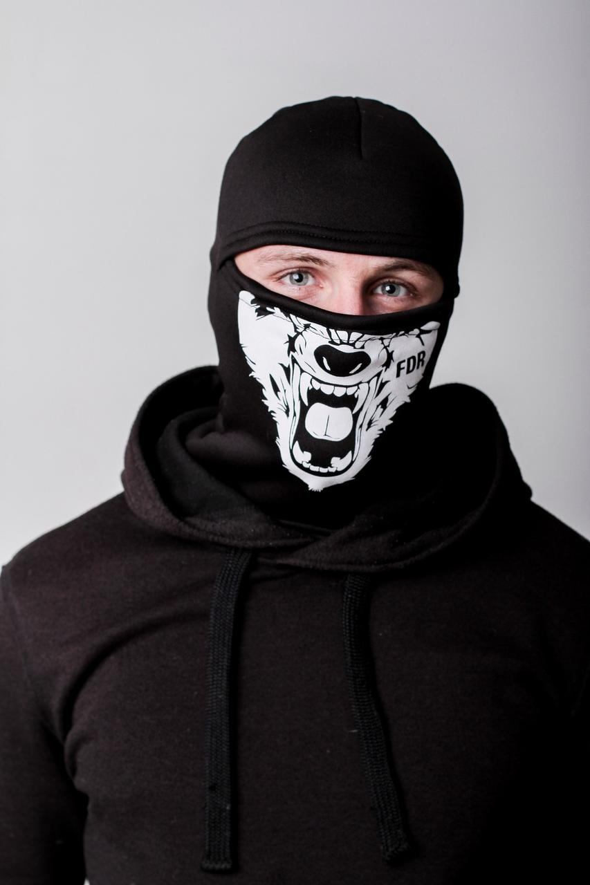 Зимняя балаклава маска с рисунком Волк (на флисе)