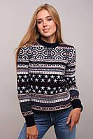 Теплый зимний вязаный женский свитер повседневной носки длинный рукав темно-синий