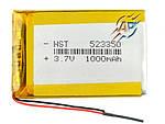 Аккумулятор литий-полимерный 1000mAh, 3.7v 523350 для навигаторов и регистраторов