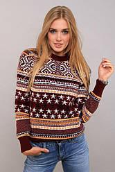 Зимний женский свитер с длинным рукавом и красивым узором бордо