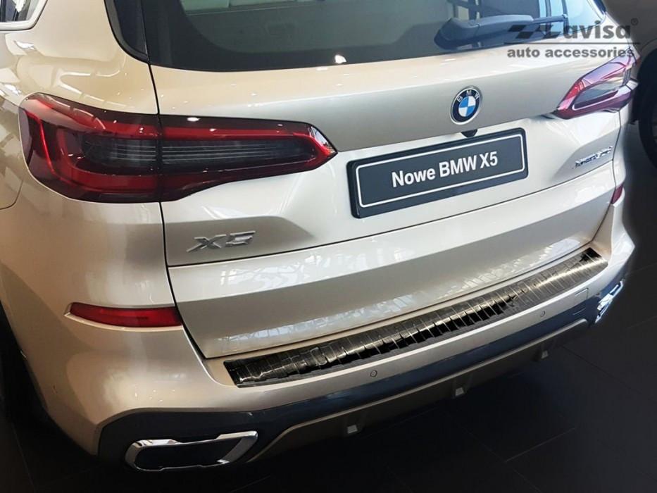 Накладка на задний бампер защитная BMW X5 G05 M Paket нержавейка (черная)